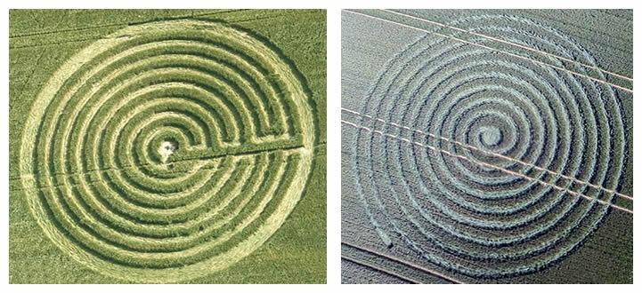 Crop circle en espiral reportados en el mes de junio de 2015 en Reino Unido.