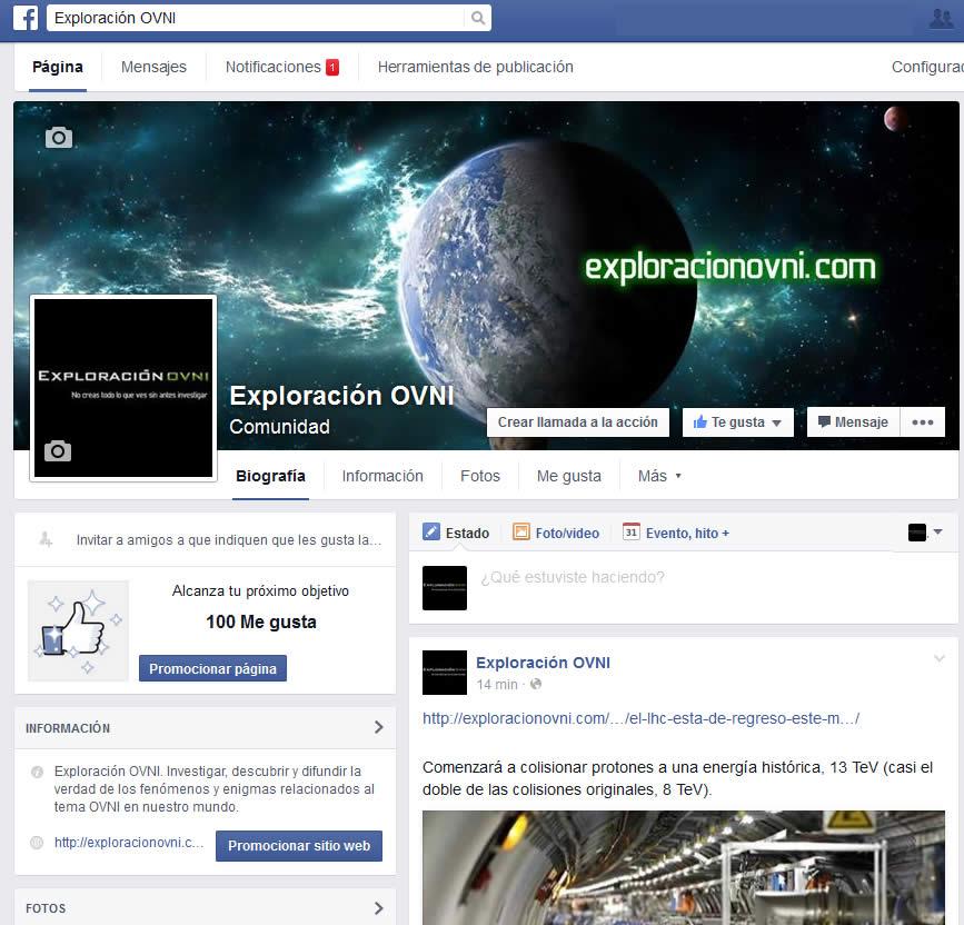 Clic para ir a la página de Facebook de ExploraciónOVNI.com
