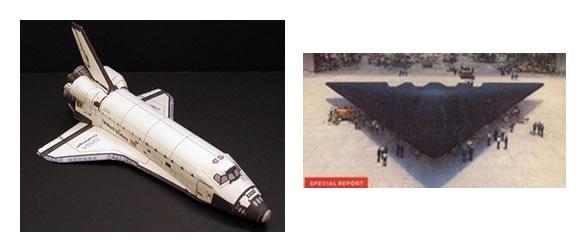 Transbordador Columbia y avión TR-3B. Algunos sitios han hecho comparaciones entre estas naves y la anomalía fotografiada.