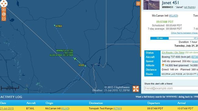 Una captura de pantalla de flightaware.com muestra el registro de actividades de Janet Airlines para el día 21 de julio de 2015. Fuente: Anónima