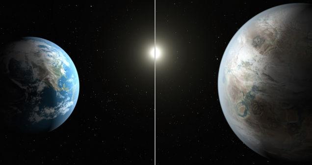 Representación artística de una comparación entre la Tierra y Kepler 452-b