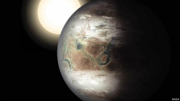 El Kepler-452b tiene un tamaño similar a la Tierra. Crédito: NASA