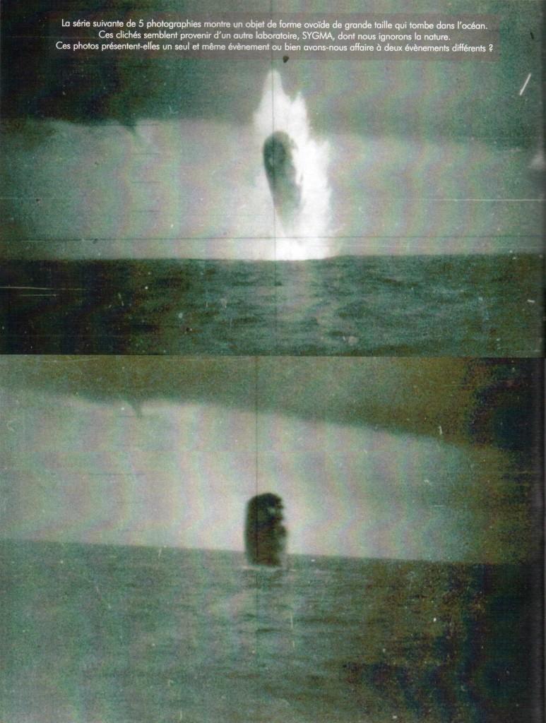 Las próximas cinco fotos muestran un objeto en forma de huevo de gran dimensión que cae en el océano. Estas imágenes parecen venir de otro laboratorio, SYGMA, de la que no sabemos nada. ¿Estas fotos representan un solo evento o estamos tratando con dos eventos diferentes?