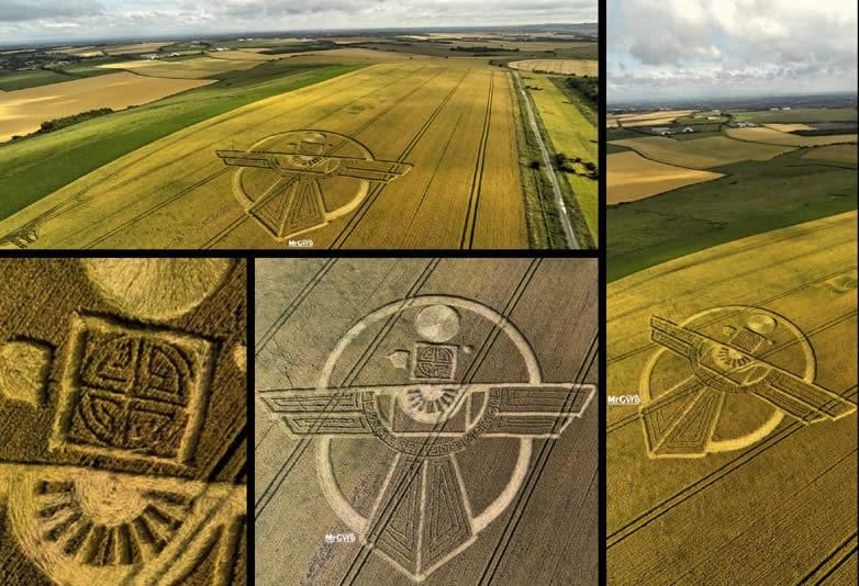 Un nuevo crop circle, con un diseño complejo fue encontrado en Wiltshire. Fecha: 25 de julio 2015. Crédito: MrGyro.co.uk