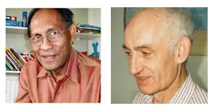 Profesor Chandra Wickramasinghe (izq.) y Max Wallis (der.)