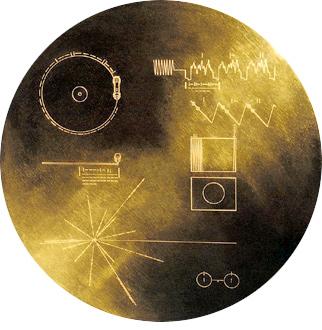 The Golden Record. Disco con sonidos de la Tierra enviado en la misión Voyager. Crédito: NASA