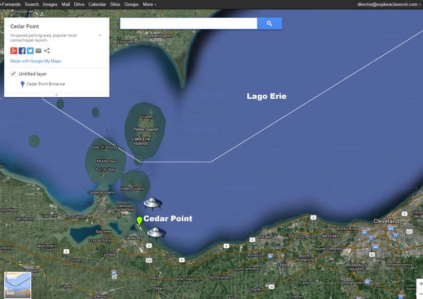 Ubicación de Cedar Point Park en la península del Lago Erie.