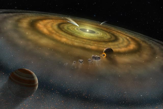Representación artística de un disco protoplanetario.