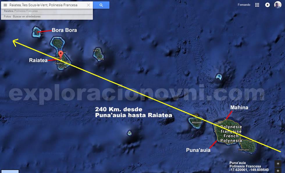 Posible trayectoria que pudo haber recorrido el objeto luminoso visto sobre Polinesia, considerando reportes desde Puna'auia a Mahina, en en Raiatea y Bora Bora.