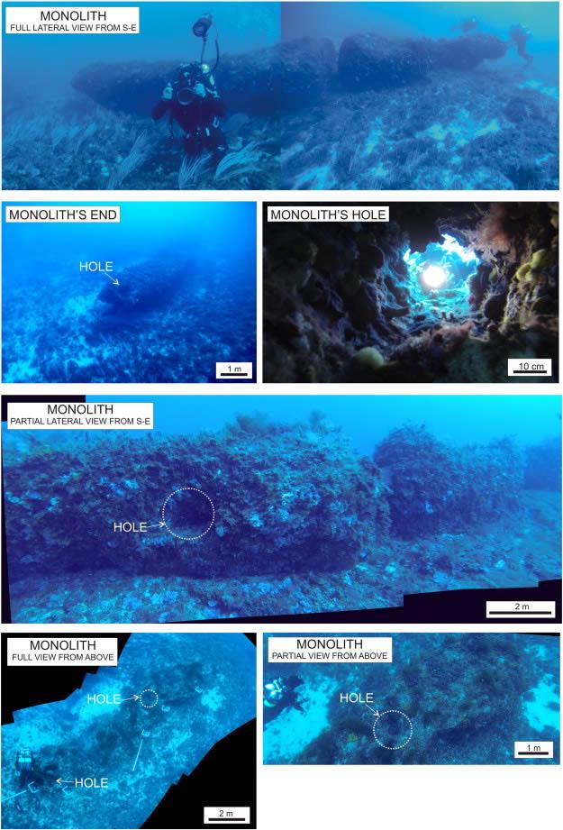 Fotografías compuestas bajo el agua tomadas por los buzos, que muestran el monolito descubierto y algunos detalles.