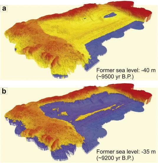 Diagrama mostrando la inundación progresiva del sitio cuando (a) el nivel del mar era - 40 m (~ 9.500 años BP), y (b) cuando el nivel del mar era - 35 m (~ 9.200 años BP).