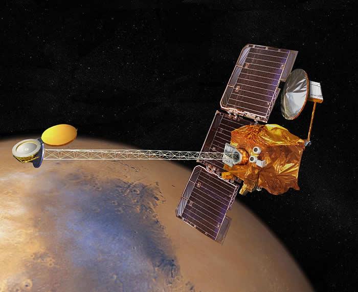 Imagen artística de la sonda espacial Mars Odyssey 2001.