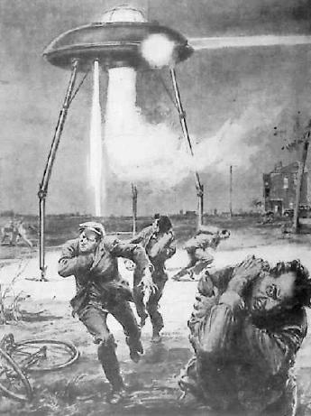 """La aventura de los dos trabajadores de la carretera de Coulommiers dio la vuelta al mundo. Esta ilustración mostrándolos en escena junto al platillo volador fue publicada en el """"Giornale Misteri"""", una publicación italiana."""