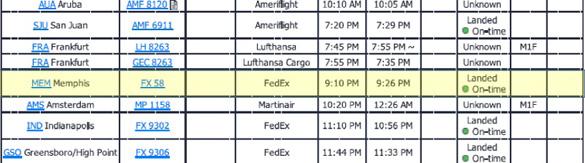 Imagen del libro de vuelo de la presentación de informes OVNI que muestra un vuelo retrasado en el momento del evento OVNI.