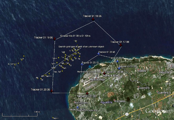 Los datos de radar que muestran la trayectoria de vuelo del DHC-8 y otros puntos desconocidos del radar entre las 20:58 y 21:14.