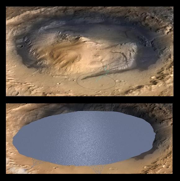 Simulación del cráter Gale en el pasado de Marte.