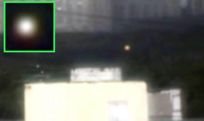 Orbe luminoso grabado sobre Moscú, Rusia