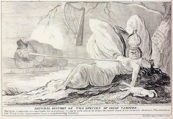 Ilustración de 'Historia Natural de Dos Especies de Vampiros Irlandeses'.