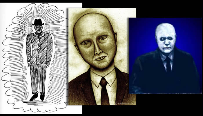 Algunos bocetos realizados de hombres de negro en base a testimonios recopilados.