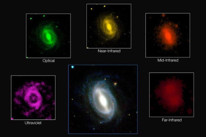 Esta imagen compuesta muestra el aspecto de una galaxia típica en diferentes longitudes de onda con imágenes obtenidas por el sondeo GAMA. Este gran proyecto ha medido a la emisión de energía de más de 200.000 galaxias y representa la evaluación más completa de la energía que emite el universo cercano. Los resultados confirman que la energía producida hoy en una sección del universo es sólo la mitad de lo que era hace dos mil millones de años y ha revelado que esta disminución tiene lugar en todas las longitudes de onda, desde el ultravioleta hasta el infrarrojo lejano. Crédito: ICRAR/GAMA and ESO