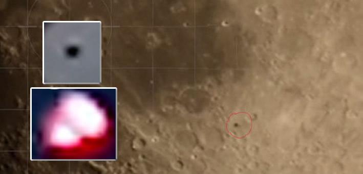Camarógrafo capta posibles objetos sobre la Luna.