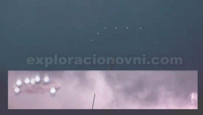 Extraña formación de luces captada en vídeo sobre Querétaro, México