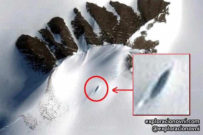Anomalía reportada en la Antártida por un investigador OVNI. Crédito: Google
