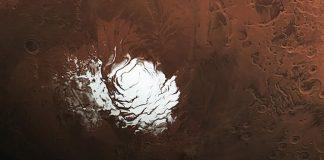 La capa de hielo en el polo sur de Marte