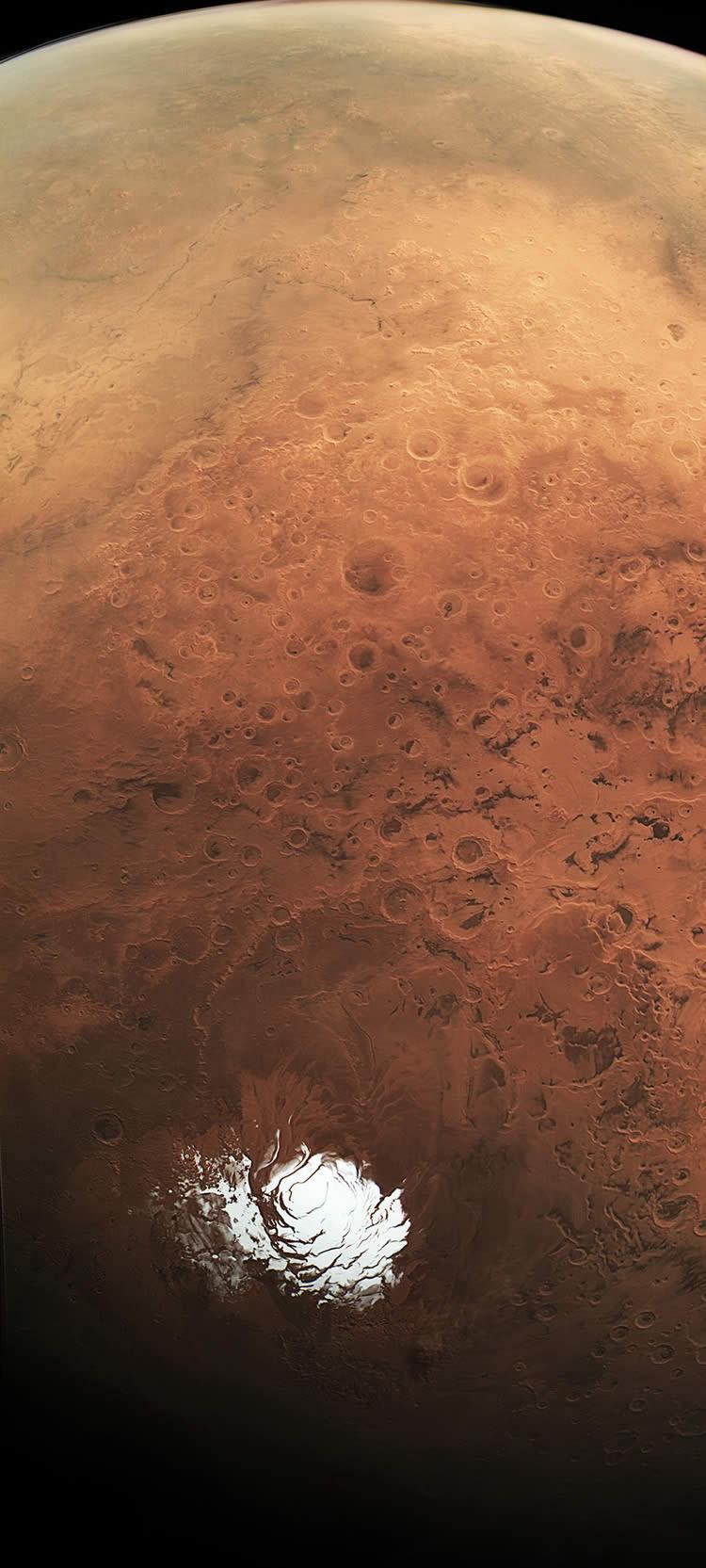 Capa de hielo en el polo sur de Marte