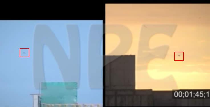 A la izquierda el incidente ocurrido en Febrero 2015. A la derecha el experimento realizado por DIFAA tiempo después. Es notoria la similitud entre ambos avistamientos.