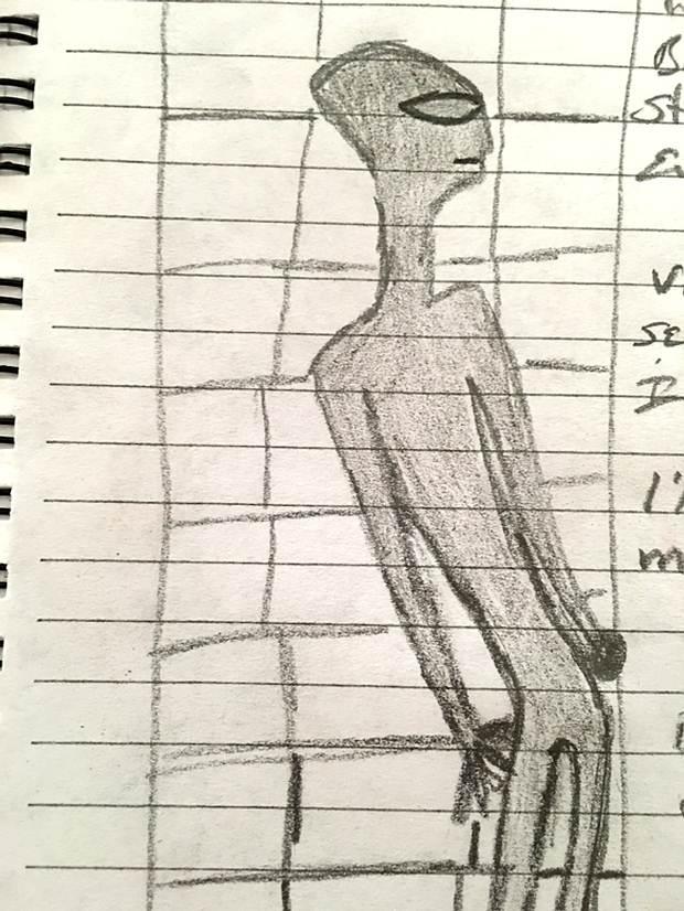 Representación del ser extraterrestres visto por la testigo. El ser sería casi tan alto como la puerta.