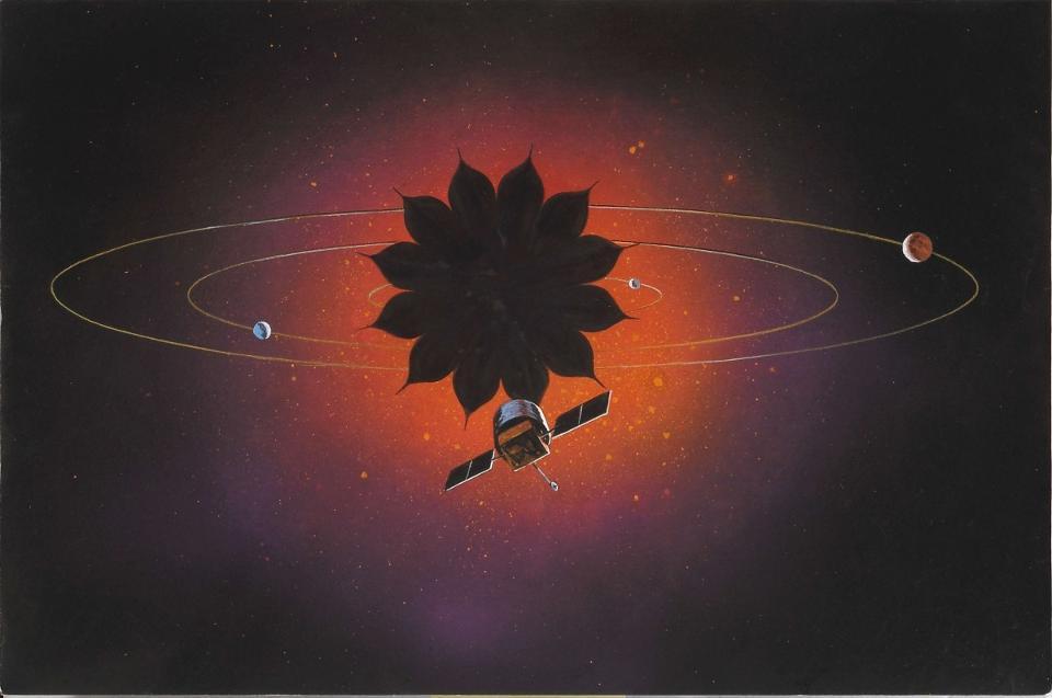 El concepto de Starshade podría permitir imágenes de exoplanetas directas ya en la década de 2020. Este dibujo conceptual ilustra un telescopio usando una sombra de estrellas
