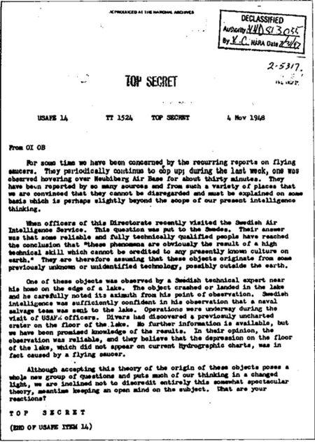 Documento que describe un encuentro con un posible OVNI en 1948