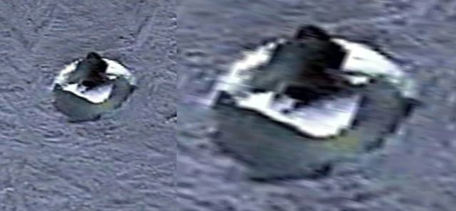 Primer plano del posible objeto con forma de disco en la Antártida.